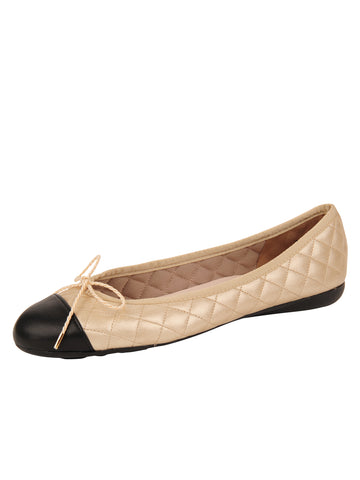 Womens Black/Sena Ceramic Best Quilted Leather Ballet Flat