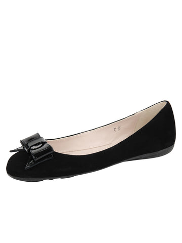 Womens Black Suede Bass Suede Ballet Flat