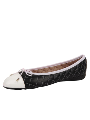 Womens Black/White Best Quilted Leather Ballet Flat