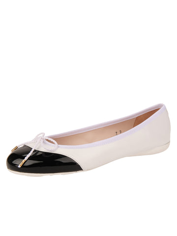 Womens Black/White Brave Leather Ballet Flat