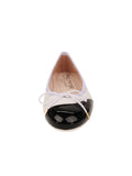 Womens Black/White Brave Leather Ballet Flat 4