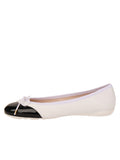 Womens Black/White Brave Leather Ballet Flat 6