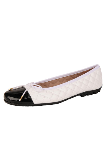 Womens Black/White Cozy Quilted Leather Ballet Flat