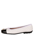 Womens Black/White Cozy Quilted Leather Ballet Flat 6
