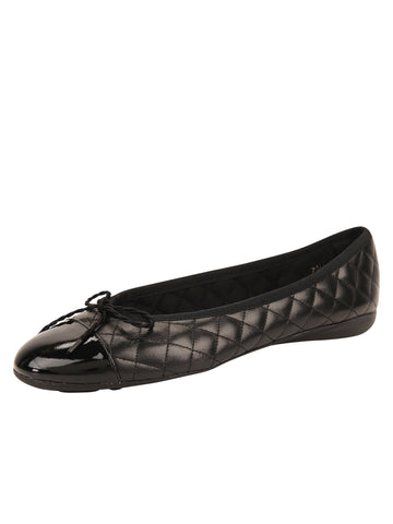Womens Black Best Quilted Leather Ballet Flat