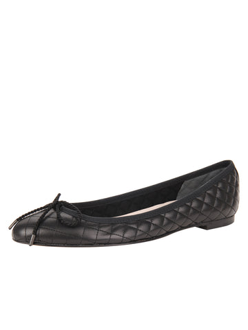 Womens Black Lido Quilted Leather Ballet Flat