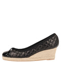 Womens Black Just Quilted Wedge Espadrille 6