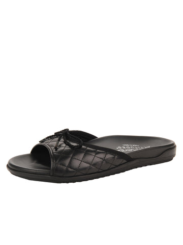 Womens Black Win Quilted Sandal