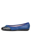 Womens Blue/Black Brave Leather Ballet Flat 2