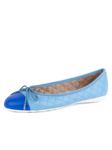Womens Blue Sky/Royal Best Quilted Leather Ballet Flat