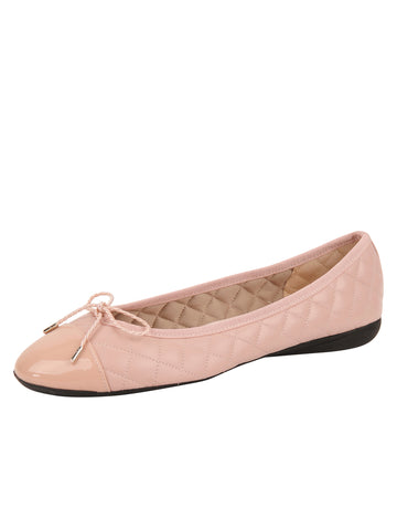 Womens Blush Best Quilted Leather Ballet Flat