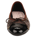 Womens Brown/Black Best Quilted Leather Ballet Flat 4