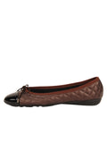 Womens Brown/Black Best Quilted Leather Ballet Flat 6