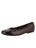 Womens Brown/Black Cozy Quilted Leather Ballet Flat