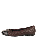 Womens Brown/Black Cozy Quilted Leather Ballet Flat 6