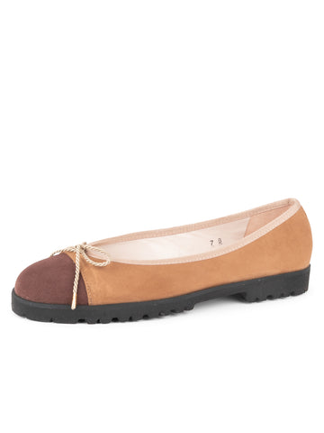 Womens Brown/Camel Suede Bravo Lug Sole Ballet