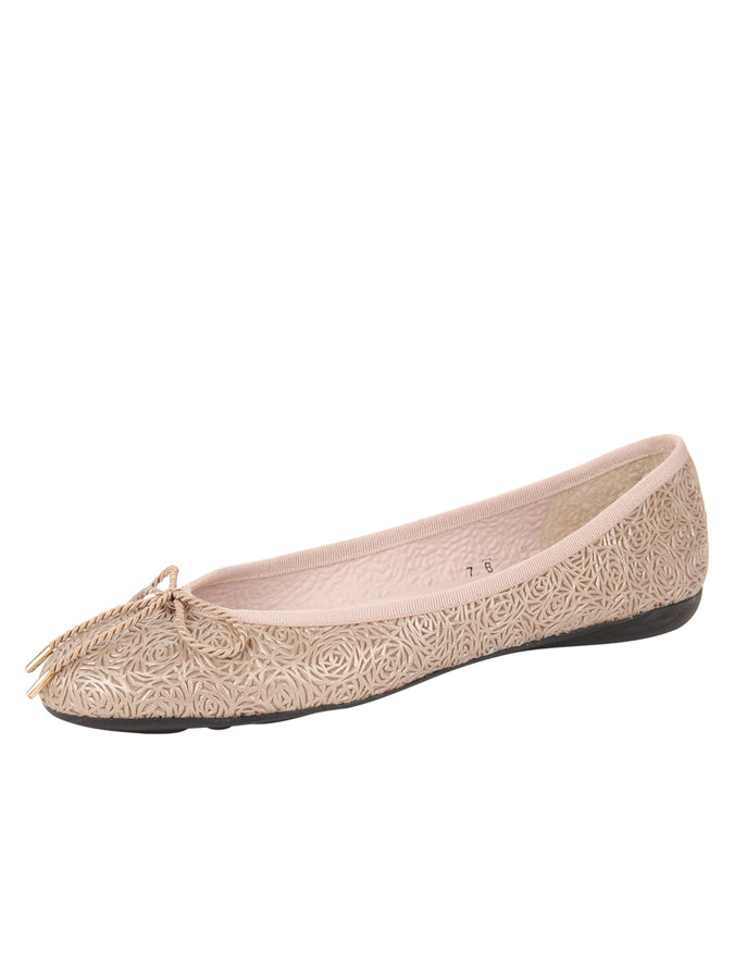 Womens Champagne Bingo Leather Ballet Flat