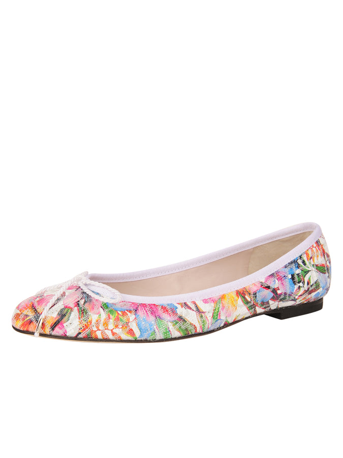 Womens Floral Luxe Printed Floral Ballet Flat