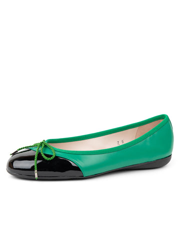 Womens Green/black Brave Leather Ballet Flat