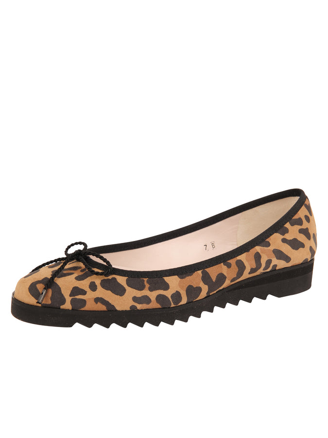 Womens Leopard Printed Suede Luxe Lug Sole Ballet