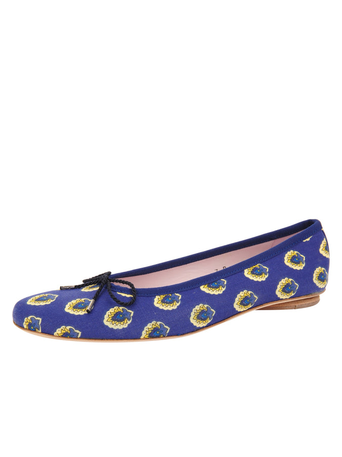 Womens Navy Blue Multi Print Country Provençale Fabric Ballet Flat