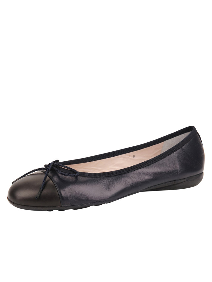 Womens Navy/Brown Bravo Leather Ballet Flat
