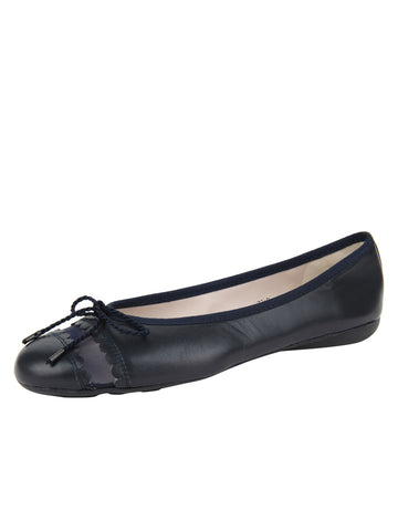 Womens Navy Leather Burg Leather Ballet Flat