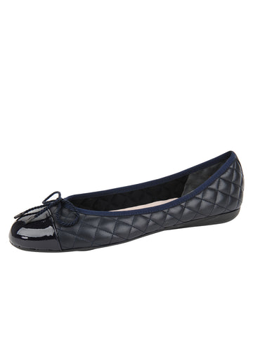 Womens Navy Pat/Navy Leather Best Quilted Leather Ballet Flat