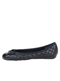 Womens Navy Pat/Navy Leather Best Quilted Leather Ballet Flat 6