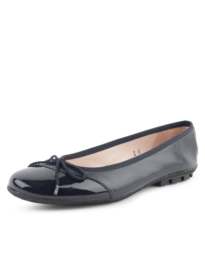 Womens Navy Patent/Navy Nappa Crave Leather Ballet Flat