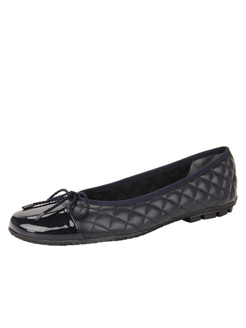 Womens Navy Cozy Quilted Leather Ballet Flat