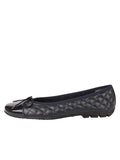Womens Navy Cozy Quilted Leather Ballet Flat 4