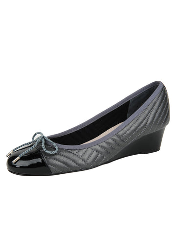 Womens PAT BLK/NAP PEWTER Nuba Quilted Leather Wedge