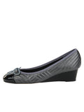 Womens PAT BLK/NAP PEWTER Nuba Quilted Leather Wedge 6