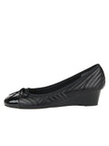 Womens PAT/NAP BLACK Nuba Quilted Leather Wedge 6