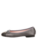 Womens Pewter/Black Bravo Leather Ballet Flat 6