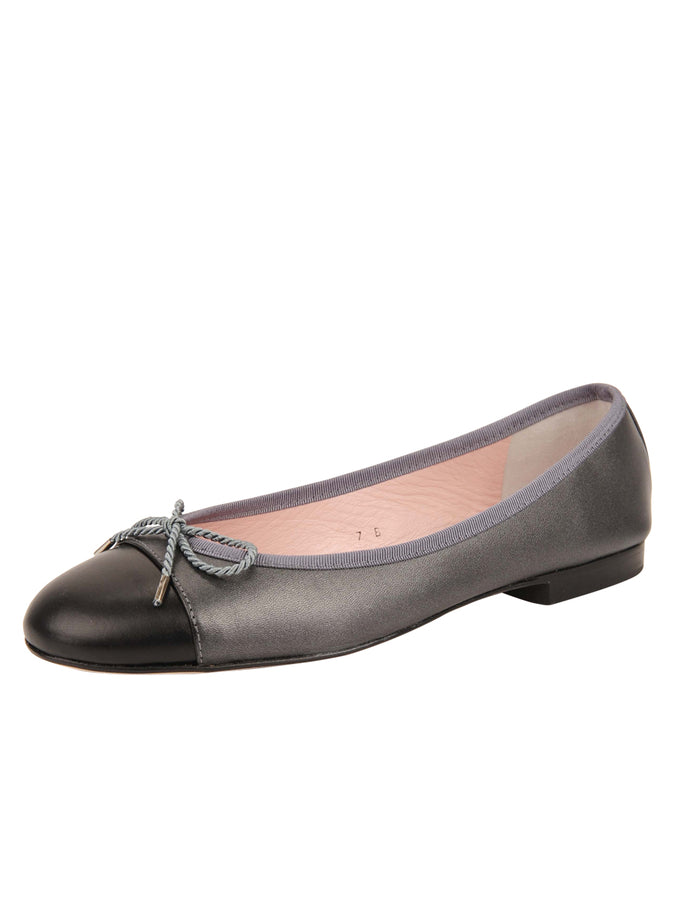 Womens Pewter/Black Bravo Leather Ballet Flat