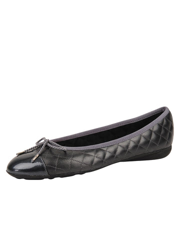 Womens Pewter Best Quilted Leather Ballet Flat