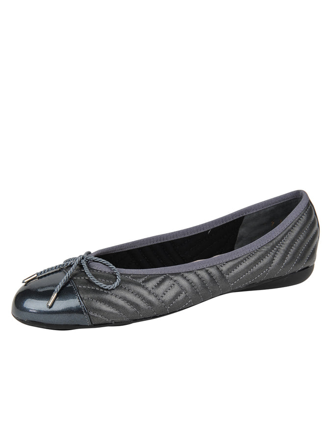 Womens Pewter Brush Quilted Leather Ballet Flat