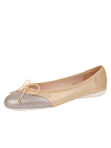 Womens Platinum/Ceramic Brave Leather Ballet Flat