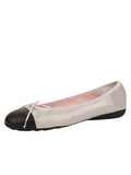 Womens Silver/Black Bravo Leather Ballet Flat