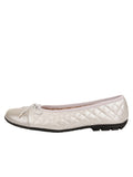 Womens Silver Cozy Quilted Leather Ballet Flat 6