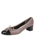 Womens Taupe Leather/Black Patent Flame Block Heel