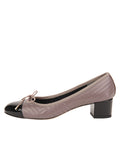 Womens Taupe Leather/Black Patent Flame Block Heel 6