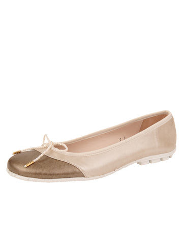 Womens Taupe/Salinas Crave Leather Ballet Flat