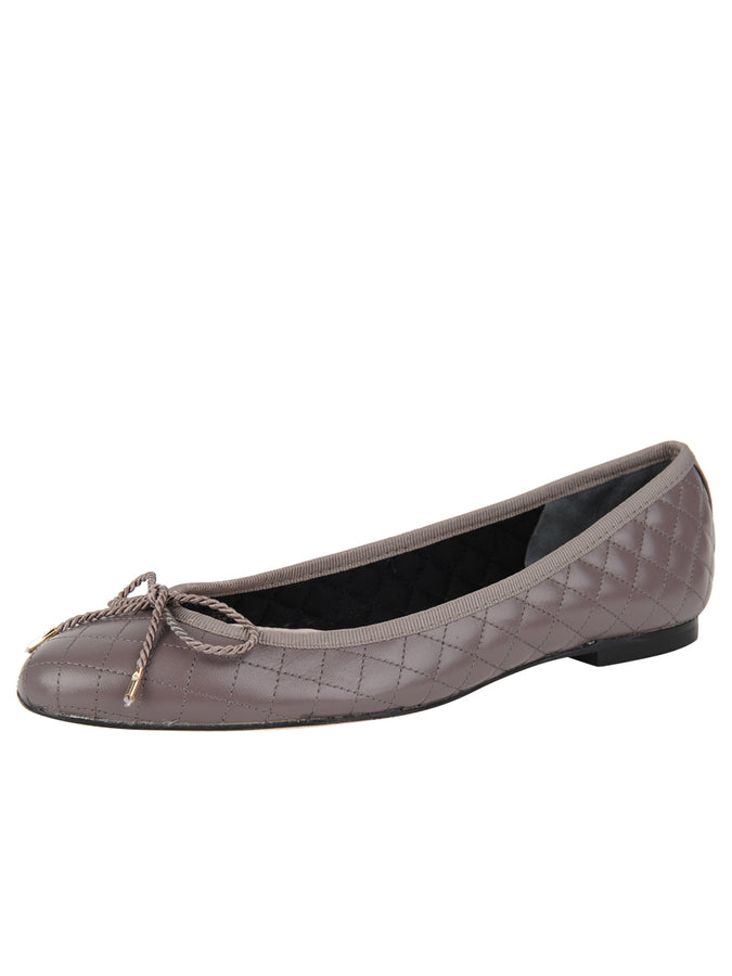 Womens Taupe Lido Quilted Leather Ballet Flat