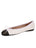Womens White/Black Best Quilted Leather Ballet Flat