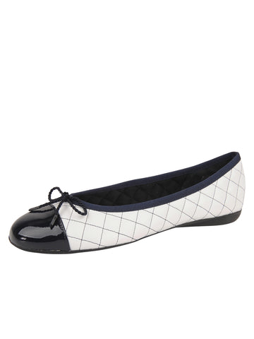 Womens White/Navy Best Quilted Leather Ballet Flat