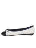 Womens White/Navy Best Quilted Leather Ballet Flat 6