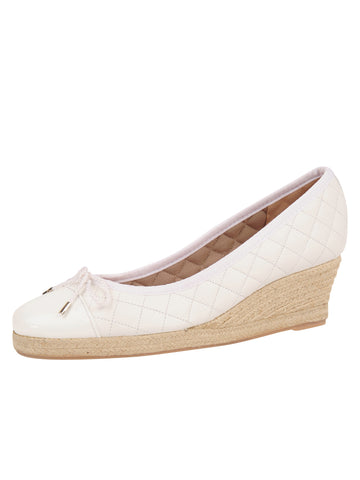Womens White Just Quilted Wedge Espadrille